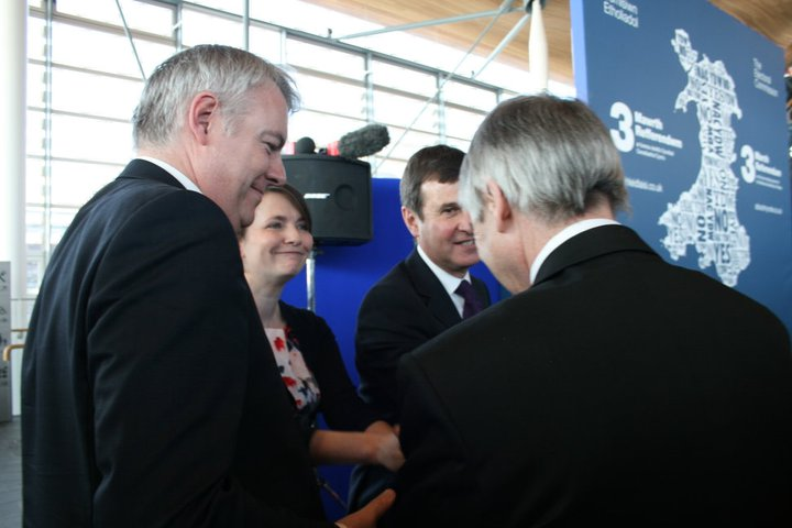 Left to right: Carwyn Jones, Kirsty Williams, Roger Lewis, Ieuan Wyn Jones